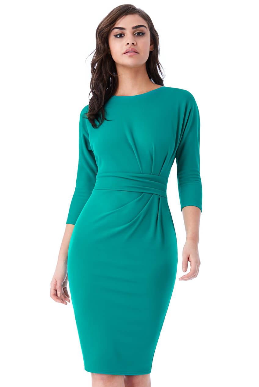AMCO Fashion by Annett Möller | City Goddess | Kleid mit raffinierten Falten | Jadegrün | mit kaschierenden Falten | leichte Fledermaus-Ärmel
