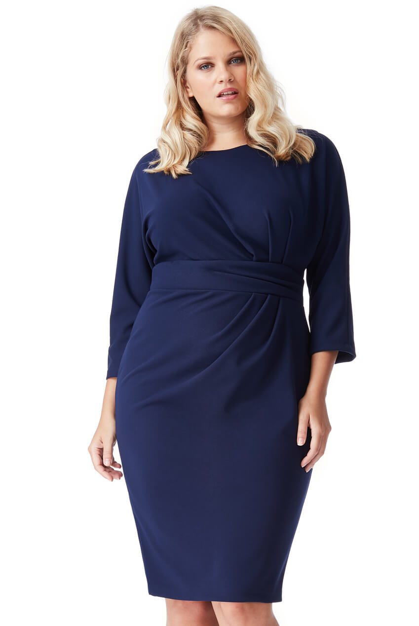 AMCO Fashion by Annett Möller | City Goddess | Kleid mit raffinierten Falten | Navy | mit kaschierenden Falten | leichte Fledermaus-Ärmel
