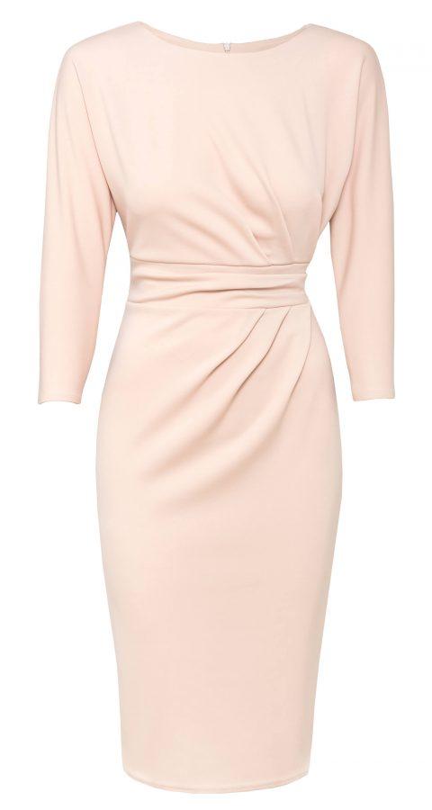 AMCO Fashion by Annett Möller | City Goddess | Kleid mit raffinierten Falten | Nude | mit kaschierenden Falten | leichte Fledermaus-Ärmel