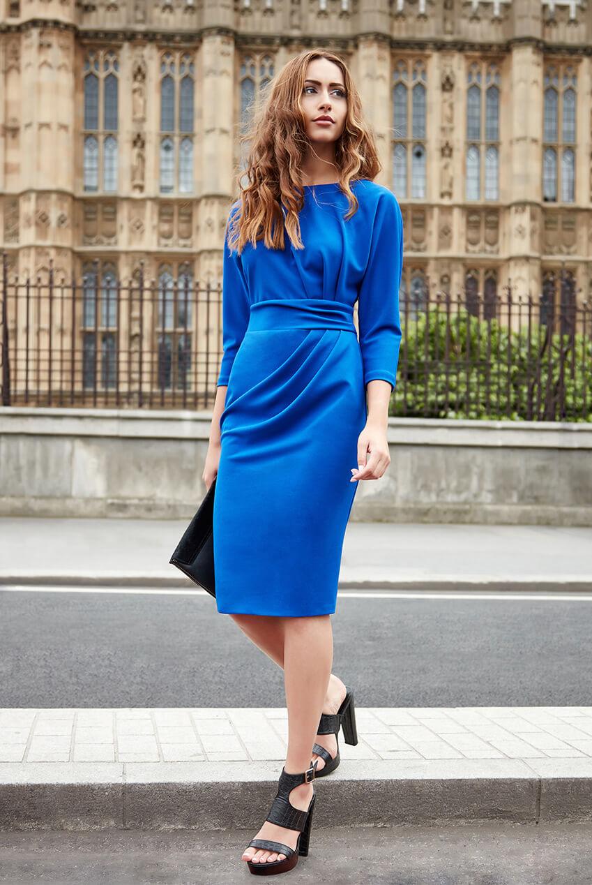 AMCO Fashion by Annett Möller | City Goddess | Kleid mit raffinierten Falten | Royalblau | mit kaschierenden Falten | leichte Fledermaus-Ärmel
