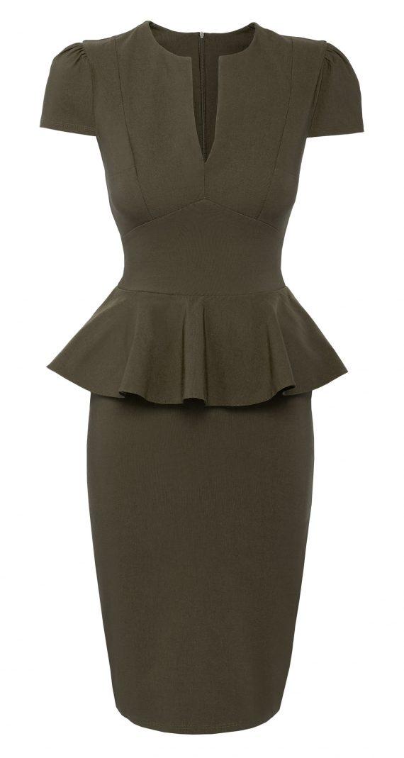 AMCO Fashion by Annett Möller | City Goddess | Kleid mit Schößchen | Khaki | Stretchkleid | V-Ausschnitt | Puffärmelchen