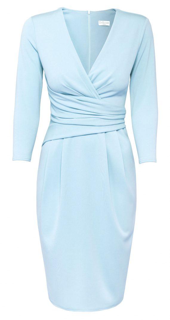 AMCO Fashion by Annett Möller | City Goddess | Kleid mit raffinierten Falten | Puderblau | mit kaschierenden Falten | V-Ausschnitt