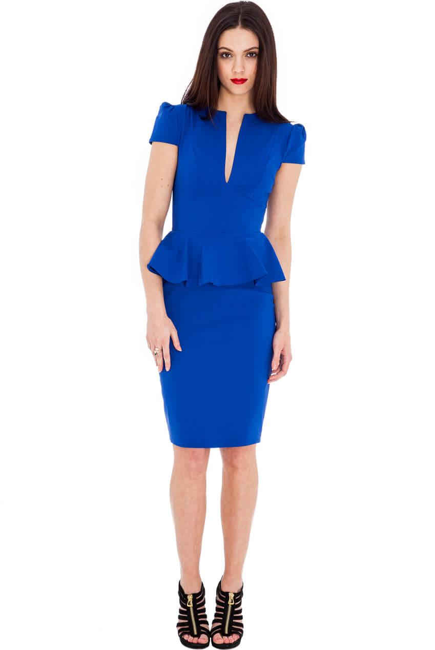 AMCO Fashion by Annett Möller | City Goddess | Kleid mit Schößchen | Royalblau | Stretchkleid | V-Ausschnitt | Puffärmelchen