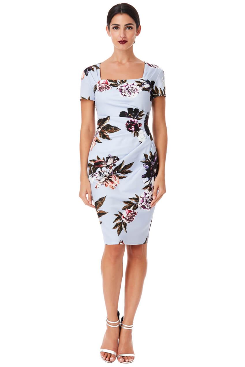 AMCO Fashion by Annett Möller | City Goddess | Kleid mit seitlichen Falten | Hellblau mit Blumen | Geblümtes Kleid | mit kaschierenden Falten