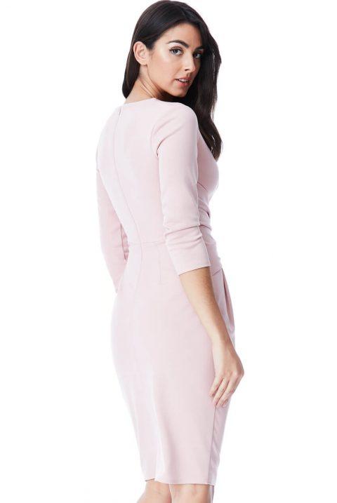 AMCO Fashion by Annett Möller | City Goddess | Kleid mit raffinierten Falten | Rosa | mit kaschierenden Falten | V-Ausschnitt