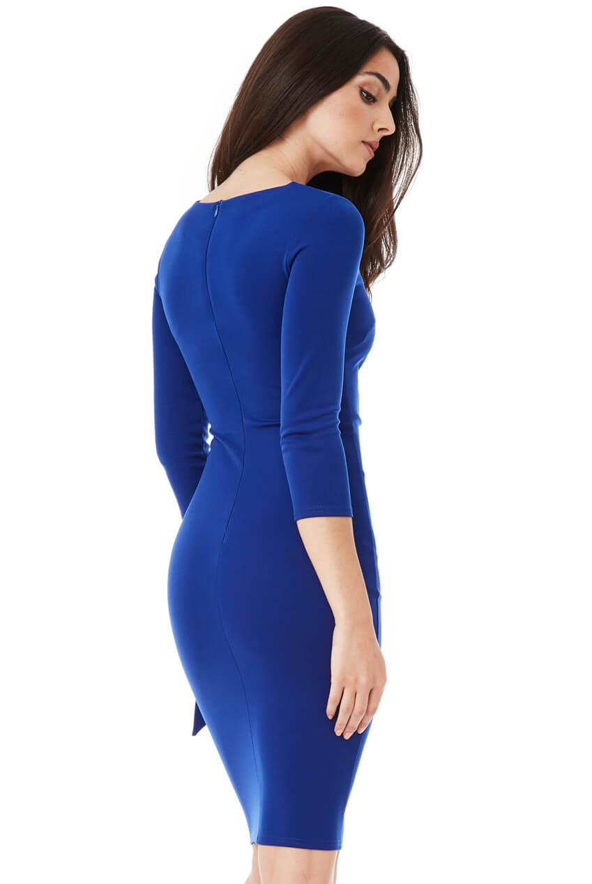 AMCO Fashion by Annett Möller | City Goddess | Kleid mit seitlichem Band | Royalblau | Kleid mit seitlichem Band zum Binden