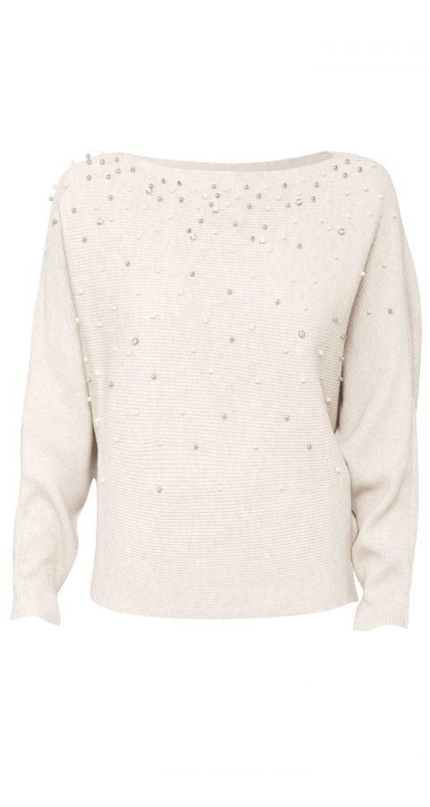 AMCO Fashion by Annett Möller | Goddiva | Pulli mit Perlen | Creme meliert | Strickpulli mit Perlen von Goddiva | mit Fledermausärmeln