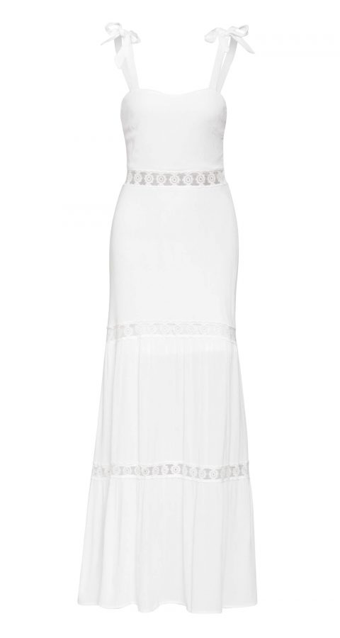 AMCO Fashion by Annett Möller | Parisian Maxikleid | Sommerkleid mit Spitzeneinsatz | Weiß | perfekt für heisse Sommertage