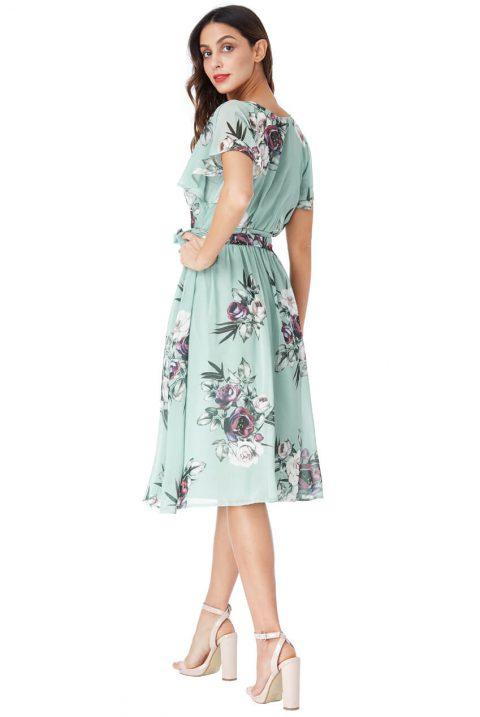 AMCO Fashion by Annett Möller | City Goddess | Sommerkleid mit Flowerprint | Türkisgrün | Kleid mit Flatterärmeln und Bindegürtel