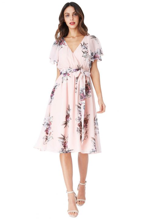 AMCO Fashion by Annett Möller | City Goddess | Sommerkleid mit Flowerprint | Pfirsichfarben | Kleid mit Flatterärmeln und Bindegürtel