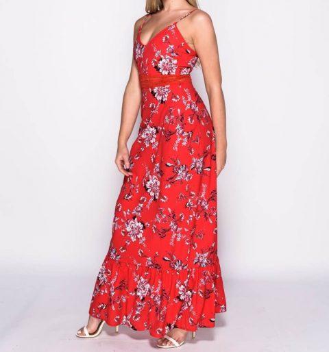 AMCO Fashion by Annett Möller | Parisian Maxikleid | Sommerkleid mit Volant und Häkeleinsatz | Rot Flowerprint | Knitterarm | Verstellbare Träger | Reissverschluß für leichten Einstieg